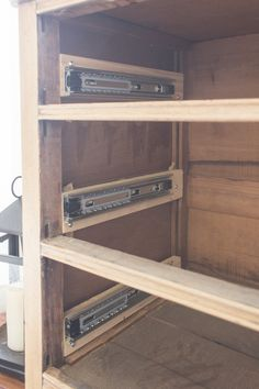 Küchen ideen How to Install Drawer Slides on a Vintage Dresser - Shades of Blue Interiors Outdoor Fu Diy Wood Projects, Furniture Projects, Furniture Plans, Furniture Makeover, Wood Furniture, Home Projects, Geek Furniture, Refurbished Furniture, Antique Furniture