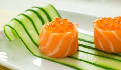 How to make Salmon Wrapped Sushi Battleships filled with salmon roe. #sushi #salmon