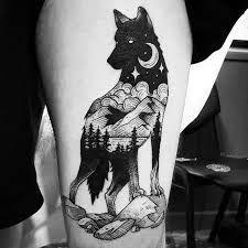 Afbeeldingsresultaat voor tatouage deux loups