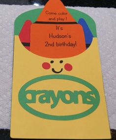 Happy Birthday Sign Discover Crayon Box Birthday Invitations Personalized Made to Order Set of 10 Crayon Birthday Parties, 2nd Birthday Party Themes, Happy Birthday Signs, Birthday Fun, First Birthday Parties, Kid Parties, Birthday Ideas, Its A Boy Banner, Crayon Box