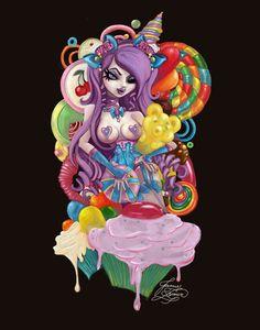 By Jamie Brown Pin Up Girl Tattoo, Rockabilly Art, Candy Art, Pop Culture Art, Goth Art, Dark Fantasy Art, Dark Art, Kawaii Art, Pin Up Art