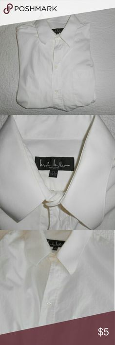 REMOVING 3/31! Nicole Miller shirt, sz 17 This is a men's Nicole Miller white dress shirt, which is missing a button at the top, as you can see in the first and third pictures. The shirt is in otherwise very good overall condition.  Questions and offers are welcome and bundling can save you money! :) Nicole Miller Shirts Dress Shirts