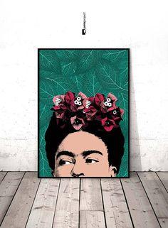 Frida Kahlo Art, Poster Frida Kahlo, Frida Kahlo Portrait, Celebrity Portrait, Frida Kahlo, Celebrity Posters, Digital Download, Pop Art