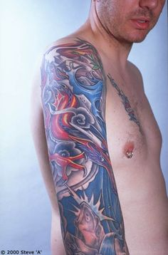 Unique Japanese Water Tattoo On Right Full Sleeve Japanese Water Tattoo, Japanese Sleeve Tattoos, Tattoos For Guys, Tattoos For Women, Tattoo Sleeve Designs, Asian Style, Watercolor Tattoo, Sleeves, Tattoo Ideas