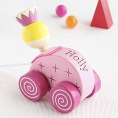Personalised Princess Wooden Pull Along Toy - children's room accessories