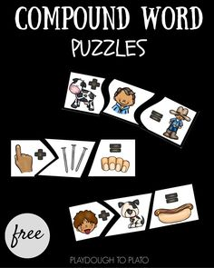 Learn how words can be put together to create new ones with these fun compound word puzzles! Such a fun guided reading activity literacy center or word work station for kindergarten or first grade. Kindergarten Language Arts, Phonics Activities, Kindergarten Literacy, Work Activities, Winter Activities, Early Literacy, Preschool Worksheets, Physical Activities, Preschool Crafts