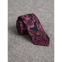 BURBERRY Slim Cut Beasts Silk Jacquard Tie. #burberry #