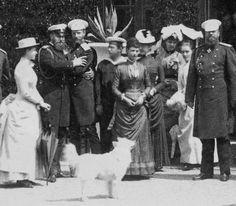 An informal family gathering of the children of Tsar Alexander II. From left to right: Grand Duchess Elisabeth Feodorovna, Grand Duke...