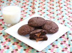 Soft chocolate cookies filled with a caramel Rolo candy. Cookie Desserts, Just Desserts, Cookie Recipes, Delicious Desserts, Dessert Recipes, Yummy Food, Dessert Ideas, Rolo Cookies, Yummy Cookies