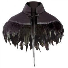 Black Shoulder Cape With Feather Trim