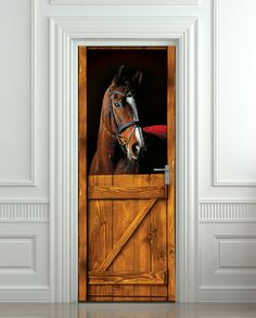 Door STICKER horse barn stable stall mural decole film self-adhesive poster cm) / from Pulaton Fridge Stickers, Room Stickers, Horse Themed Bedrooms, Horse Bedrooms, Horse Mural, Horse Lamp, Deco Originale, Horse Stalls, Vinyl Banners