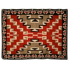 Authentic American Indian Navajo Ganado pattern rug commissioned by Klagetoh Trading Post in Klagetoh, Arizona, in original condition. Extremely rare color palette and design with no repairs, or moth damage. Native American Rugs, American Indian Art, Native American Beading, Navajo Weaving, Navajo Rugs, Hand Weaving, Southwest Art, Indigenous Art, Fiber Art