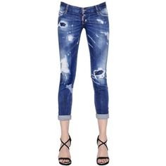 Dsquared2 Women Pat Washed & Destroyed Denim Jeans
