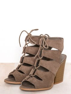 """Lace upat front sandal with open toe and chunky block heel.3 3/4"""" Heel HeightVegan Suede"""