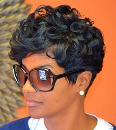 Short Wave Lace Front Human Hair Wigs Indian Remy Hair Short Wig For Black Women Color Machine Made No Lace Wig - hair - Hair Designs Love Hair, Great Hair, Amazing Hair, Curly Hair Styles, Natural Hair Styles, Natural Wigs, Natural Curls, Natural Women, Sassy Hair