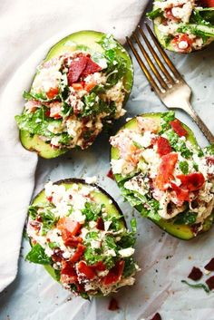 BLT Chicken Salad Stuffed Avocados 21-Day Fix Recipe