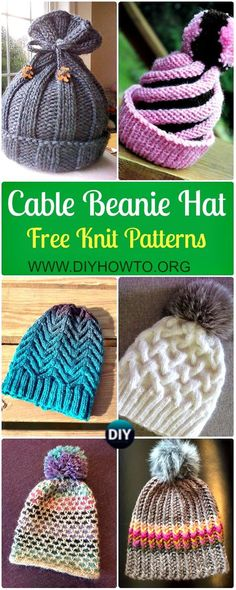 Knit Cable Beanie Hat Free Patterns: Knit Winter Hat, Knit Horse Shoe stitch hat, knit thick hat, chunky knit hat for kids, girls and adults