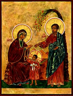 Icon of the Holy Family from  from the book APPROACHING THE DIVINE - A PRIMER FOR #ICONOGRAPHY by Fr Richard Cannuli (Hope & Life Press, 2014). #icons #catholic #christ