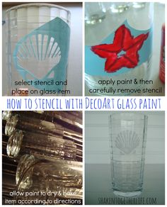 How to Stencil with DecoArt glass paint tutorial at shakentogetherlife.com