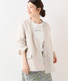 SLOBE IENA|リネンVネック ノーカラージャケット Blazer Jacket, Chef Jackets, Blazers, Women's Fashion, Film, Blouse, Long Sleeve, Summer, Blazer