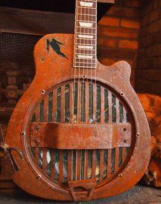 Hand built Resonator SpiderShed Guitar by Spidershedguitars Guitar Keys, Cigar Box Guitar, Music Guitar, Cool Guitar, Playing Guitar, Unique Guitars, Custom Guitars, Vintage Guitars, Resonator Guitar