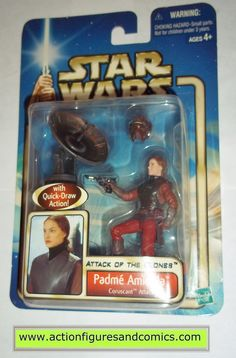 star wars action figures PADME AMIDALA Coruscant attack 2002 Attack of the clones saga movie hasbro toys moc mip mib