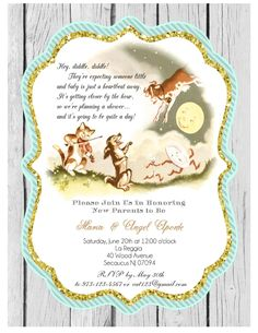 nursery rhyme baby shower printable invitation for birthdays gender reveals diy by
