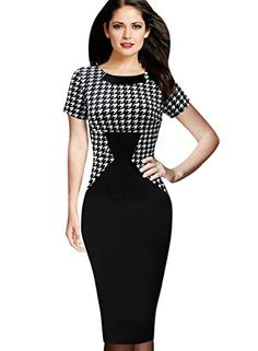 VfEmage Womens Houndstooth Patchwork Wear To Work Office Casual Pencil Dress 2097 HTH S *** Read more  at the image link.  This link participates in Amazon Service LLC Associates Program, a program designed to let participant earn advertising fees by advertising and linking to Amazon.com.
