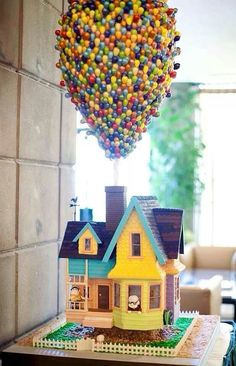 This cake is inspired by the Disney Pixar movie up. I love the great details on the balloons