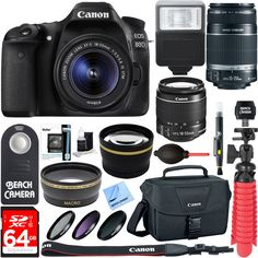 Canon EOS 80D CMOS DSLR Camera + 18-55mm IS STM & 55-250mm IS II Lens Kit + Accessory Bundle 64GB SDXC Memory + DSLR Photo Bag + Wide Angle Lens + 2x Telephoto Lens +Flash+Remote+Tripod. Canon Authorized Dealer Includes Full USA Canon Warranty. EOS 80D 20.2 MP CMOS Digital SLR Camera w/ EF-S 18-55mm F3.5-5.6 IS STM Lens Kit. Kit Includes: EF-S 55-250mm f/4-5.6 IS II (Stabilized) Telephoto Lens, 64GB Class 10 UHS-1 SDXC Memory Card. Canon EOS DSLR Camera and Gadget Shoulder Bag 100ES. Pro...