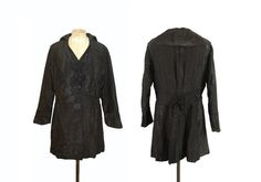 Antique Moire Silk Taffeta 1910s c. 1915 Edwardian Black Sailor Collar Jacket Coat Rare Plus Size Large XL