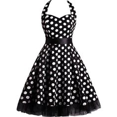 Retro Halter Polka Dot Elastic Waist Midi Skater Dress ($40) ❤ liked on Polyvore featuring dresses, halter dress, halter midi dress, halter-neck dress, halter top and halter neckline dress