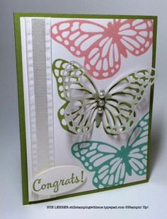Handmade card using the Happy Happenings Stamp Set and my own custom butterfly stamps using the Butterfly Thinlits from Stampin' Up!