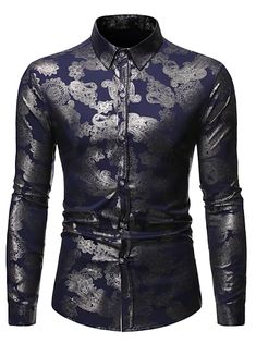 Men's Floral Shirt Basic Long Sleeve Daily Slim Tops Standing Collar White Black Wine / Spring / Work 2021 - Can $34.14 Cheap Mens Shirts, Mens Shirts Online, Long Sleeve Floral Dress, Long Sleeve Shirt Dress, Black Comforter Sets, Work Tops, Summer Shirts, Work Casual, Street Chic