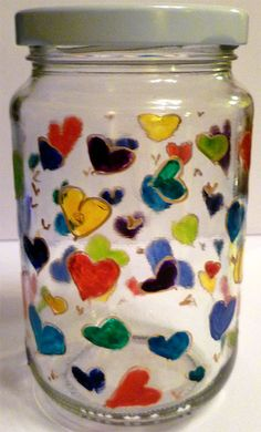 Designer Hand Painted Jar of Hearts by HandPaintedJar on Etsy Painted Jars, Hand Painted, Jar Of Hearts, Etsy Shop, Unique Jewelry, Handmade Gifts, Design, Kid Craft Gifts, Painted Pots