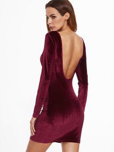 Vestido ajustado de terciopelo con espalda descubierta-Sheinside