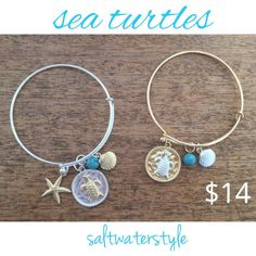 Sea Turtle Hook Bracelet with charms of starfish, pearl and turquoise.