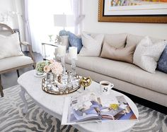 Living room decor | marble coffee table | Sarah Richardson couch | @classyglamliving