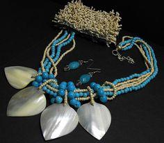 Azure Blue Mother Pearl Necklace Fringe Bracelet Earrings Beach Resort Wear *MM* #Unbranded