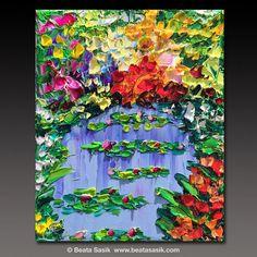 Oil Painting   ART B. Sasik  Painting Original lake pond por bsasik