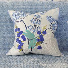 Kimono Blossom Delft Varese Turquoise Throw Pillow | Designers Guild USA