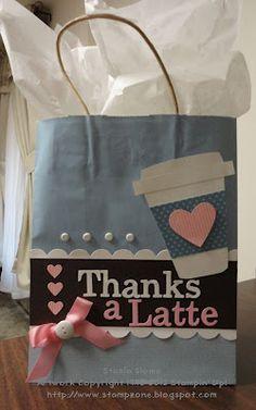 Stampin' & Scrappin' with Stasia: Thanks a Latte  pretty color combo--marina mist, early espresso, pretty in pink
