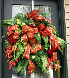 Christmas Wreath in lime green and reds. by LisasLaurels on Etsy