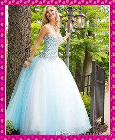 2014 Multi Color Ombre White And Ice Blue Tulle Ball Gown Quinceanera Debutante Dresses Bling Bling Crystals Beaded Backless Formal Gowns, $124.39 | DHgate.com