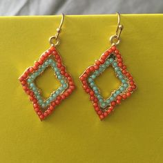 Morrocan style dangle earrings Beautiful Khloe Collection Moroccan Dangle Earrings. Gold, Teal and Coral in color. Jewelry Earrings