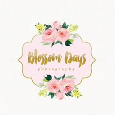 watercolor flower logo florist logo Peony by stylemesweetdesign