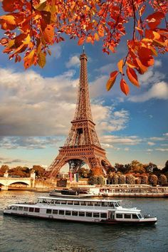 Eiffel Tower with autumn leaves in Paris, France. Eiffel Tower with boat in Pari , From Paris With Love, Paris Travel, France Travel, Eiffel Tower Tour, Eiffel Towers, Paris Torre Eiffel, Hotel Des Invalides, Paris Wallpaper, Beautiful Paris