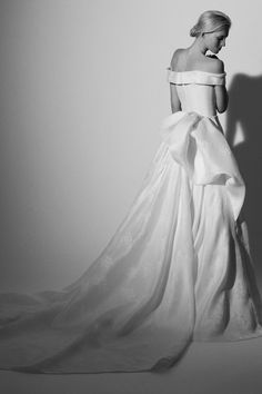 Draped off-the-shoulder ball gown, by Carolina Herrera