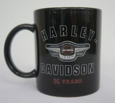 Harley Davidson Black Coffee Cup Mug 95 Years of Great Motorcycles 1998