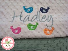 Custom designed personalized baby blankets by www.sun7designs.com   Check us out on Facebook at www.facebook.com/sun7designs